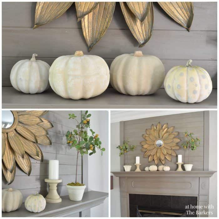 fall mantel decor, rustic fall decor, fall tour, painted pumpkins