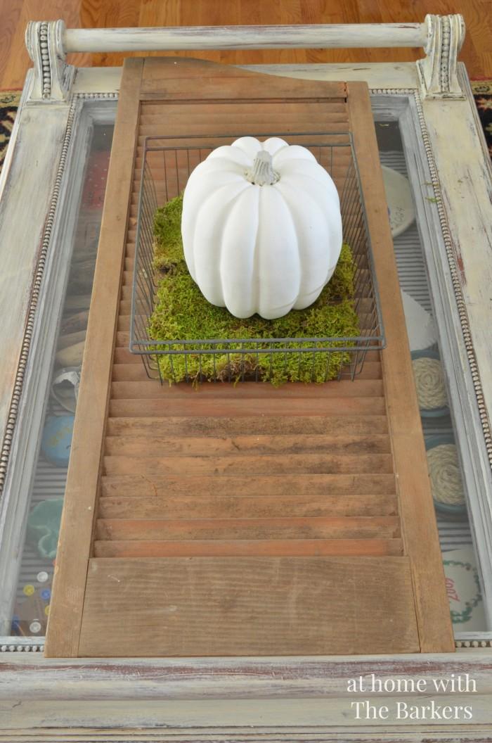 painted pumpkin, fall tour, rustic fall decor, vintage shutter, vintage wire basket