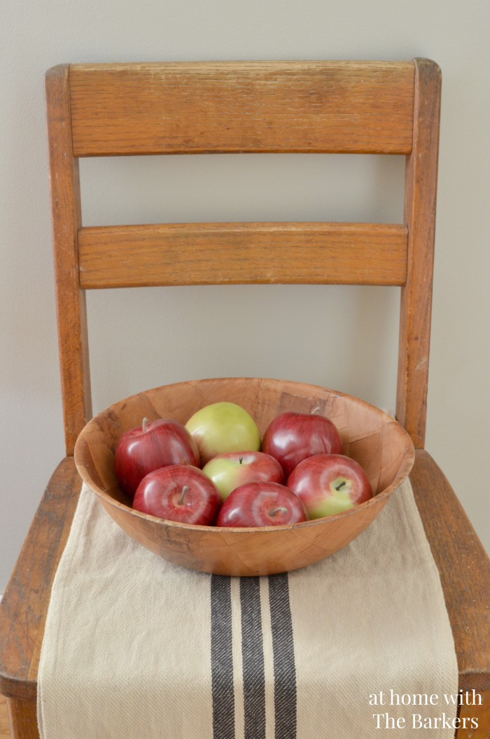 Vintage chair, rustic fall decor, fall tour, apples