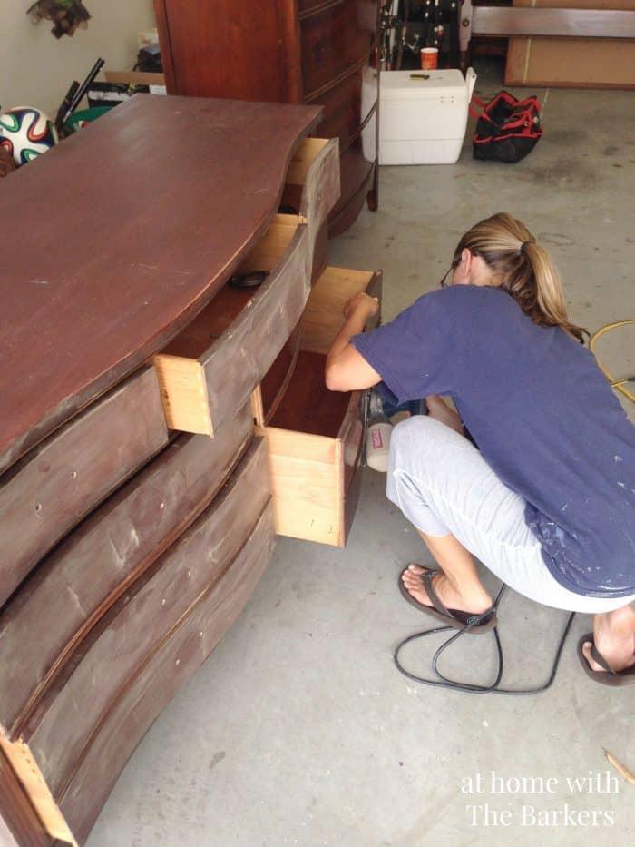 DIY Black Chalk Finish Paint-Sanding Furniture