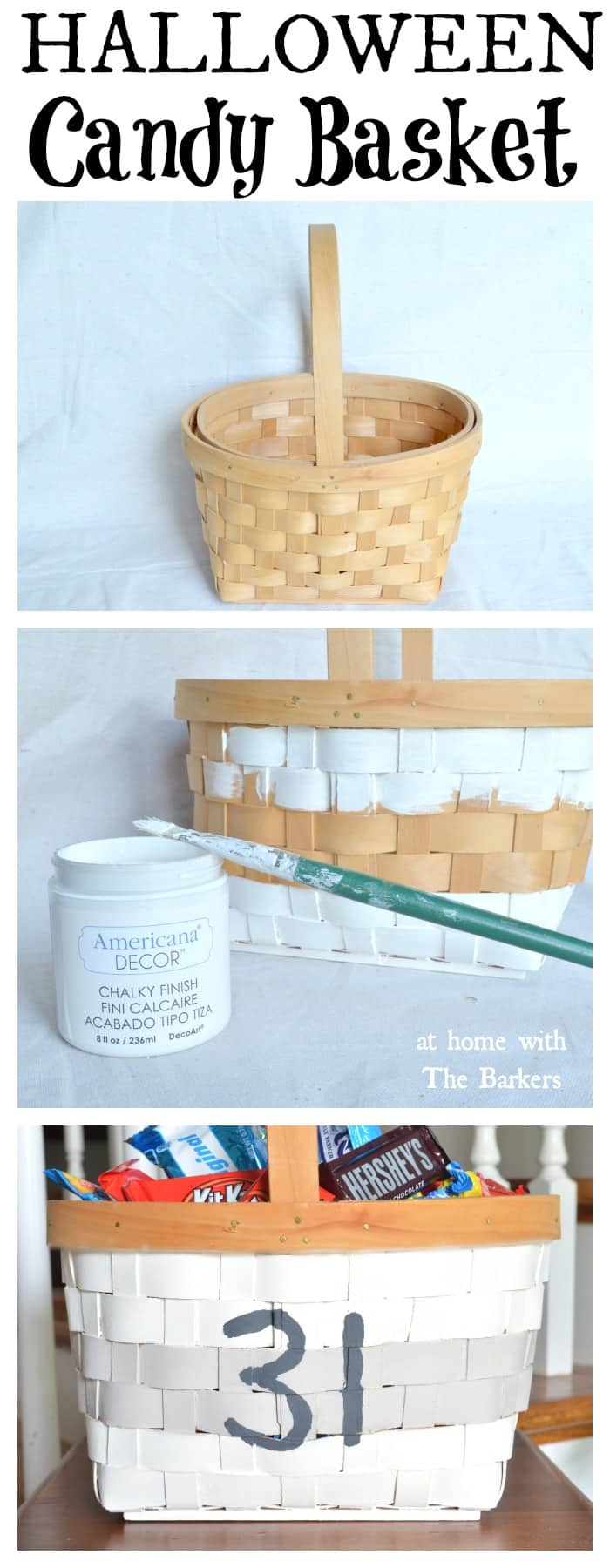 DIY Painted Halloween Candy Basket / athomewiththebarkers.com