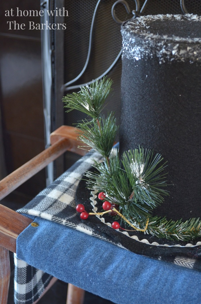 Christmas Mantel- Frosty Hat and Stool