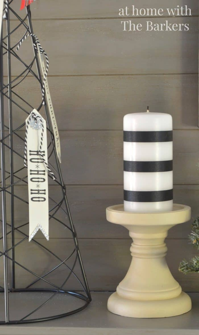 Christmas Mantel- Ribbon Striped Candles