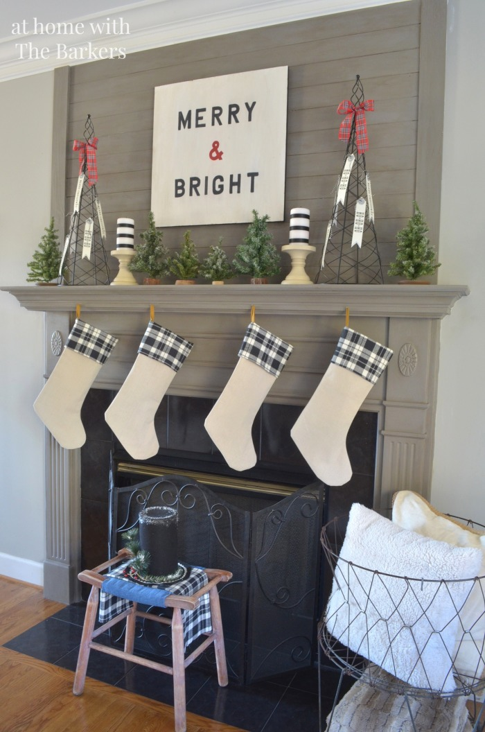 Christmas Mantel with DIY Drop Cloth  Christmas Stockings