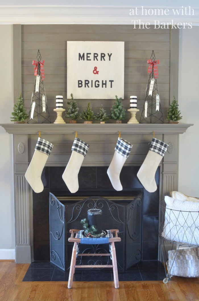 Christmas Mantel / Vintage, Black and White, Plaid / athomewiththebarkers.com