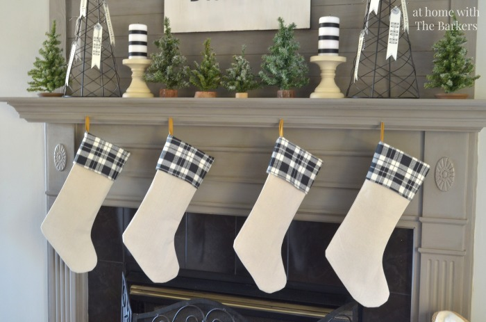 Christmas Mantel Vintage Style DIY Drop Cloth Christmas Stockings
