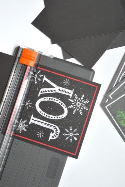 Christmas Sign inspired by Pottery Barn-Notecards from Michaels $1 bin