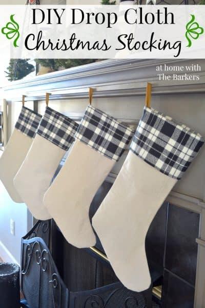 DIY Drop Cloth Christmas Stockings- Black and White Plaid