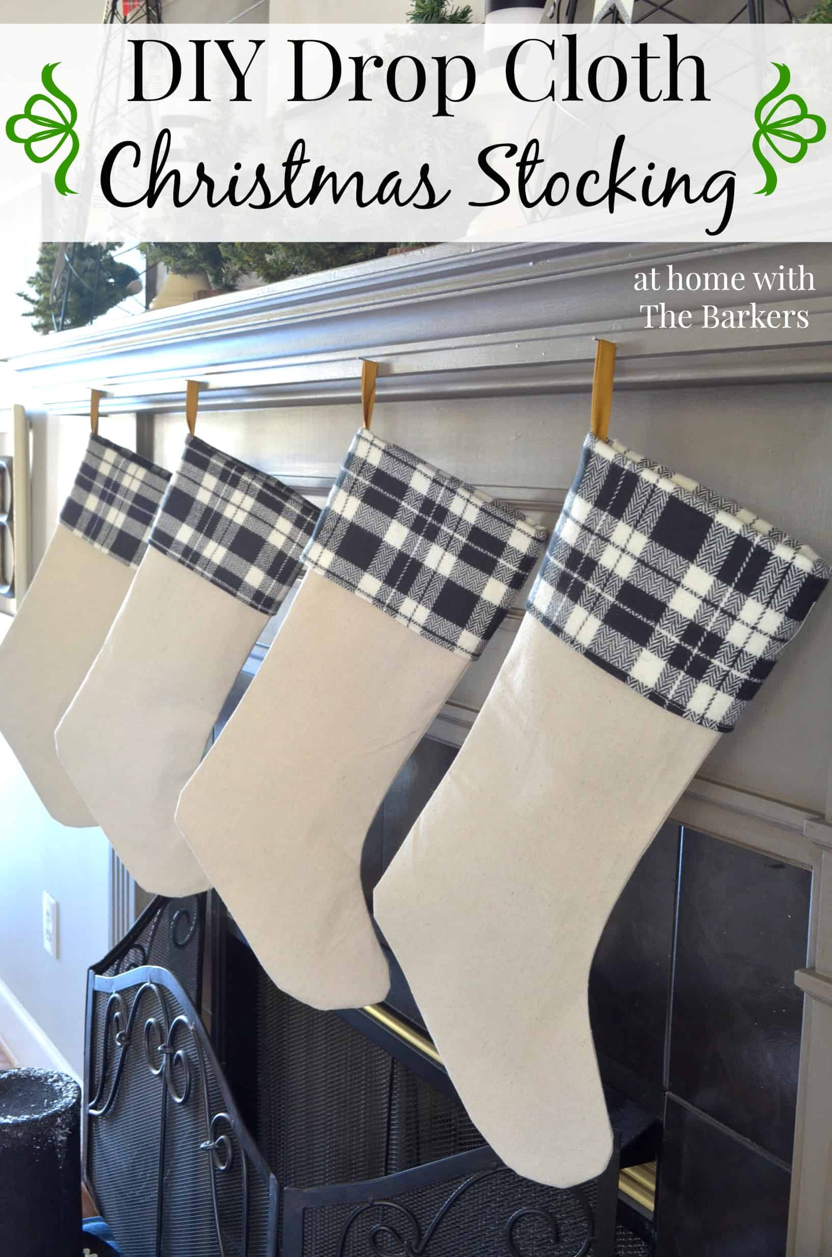 DIY Drop Cloth Christmas Stocking