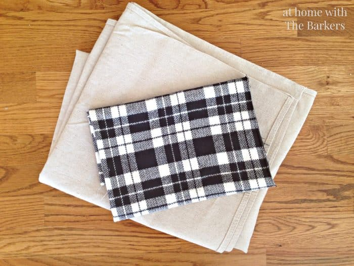 DIY Drop Cloth and Plaid Christmas Stockings