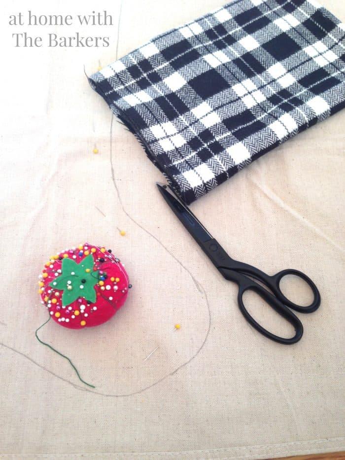 DIY Drop Cloth and Plaid Stocking-Sewing Supplies