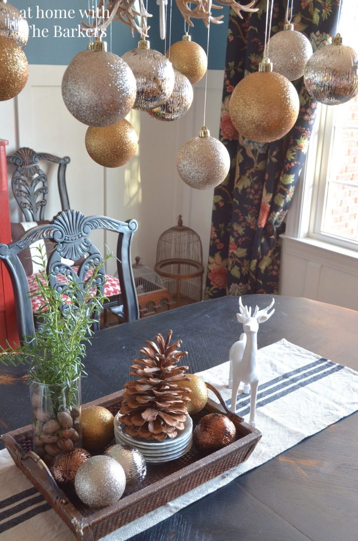 Dining Room Christmas Decor with metallic ornaments