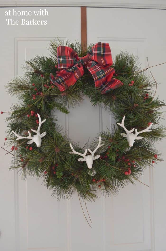 Christmas Wreath using deer head ornaments. athomewiththebarkers.com