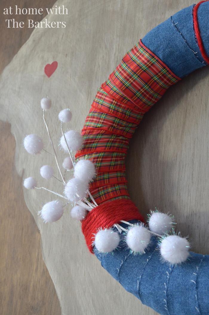 Christmas House Tour Denim and plaid Kitchen Wreath