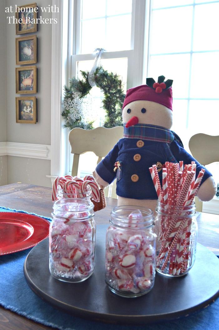 Christmas House Tour Snowman centerpiece
