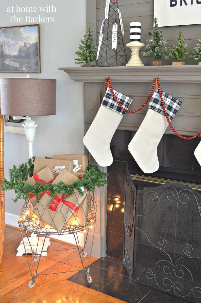 Christmas House Tour- Vintage Laundry Basket