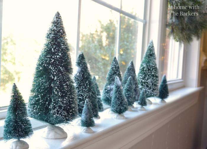 Christmas House Tour-Vintage bottle brush trees