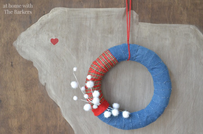 Christmas House Tour denim and plaid wreath