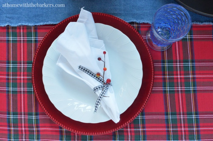 Christmas Table Setting-Plaid and Denim