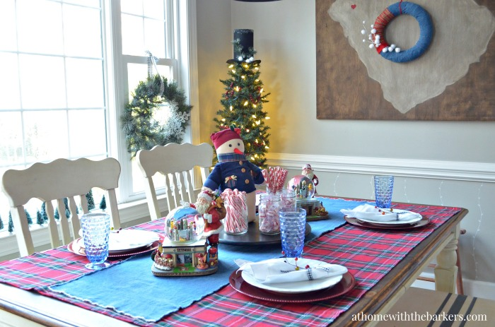 Christmas Table Setting with a Snowman theme