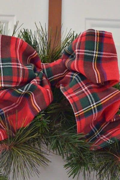 Christmas Wreath using plaid tablecloth for bow