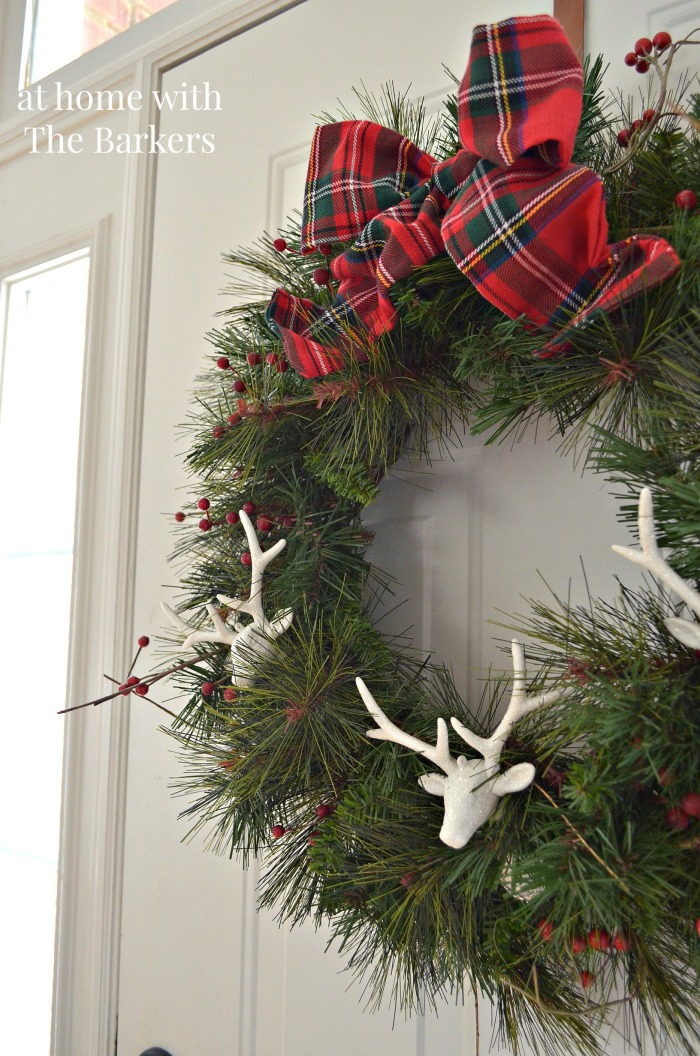 Christmas Wreath /Deers Ornaments and Plaid / athomewiththebarkers.com