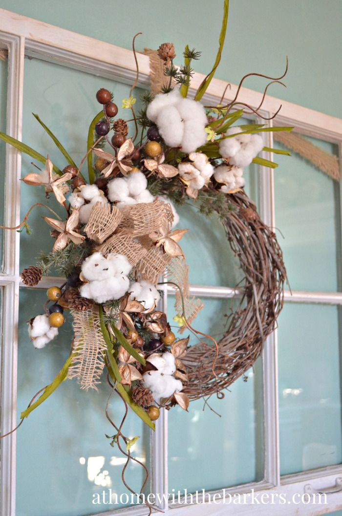 Victorian Christmas Cotton Grapevine Wreath
