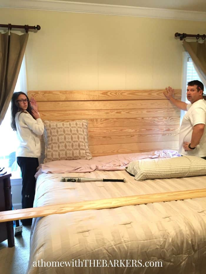 DIY Headboard - Pine Panel Wood