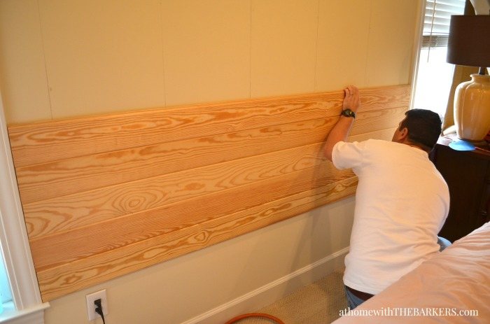 DIY Headboard made from pine panels