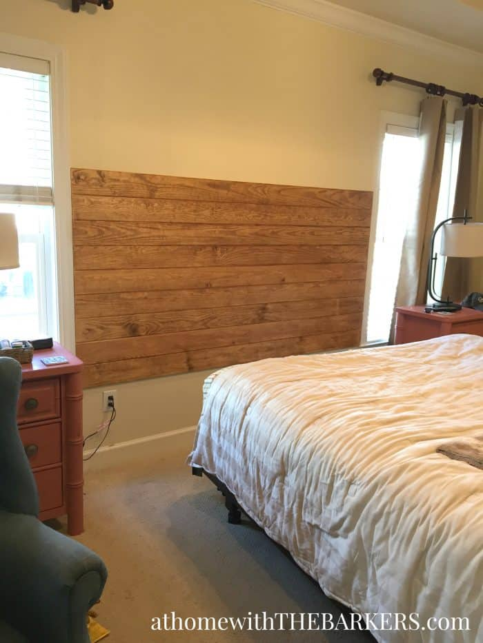 DIY Wood Headboard stained with Annie Sloan Dark Wax