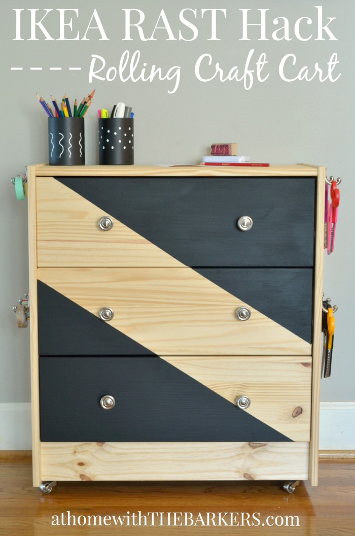 Rolling Craft Cart Ikea Rast Hack- At Home with The Barkers