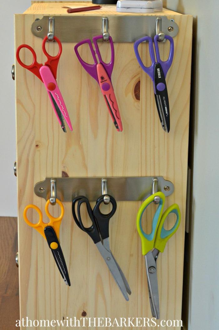 Rolling Craft Cart Scissor storage with metal hooks