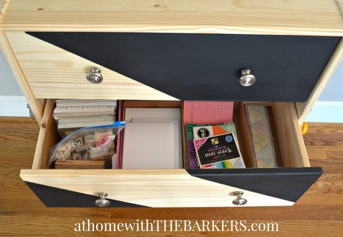 Rolling Craft Cart with card supplies