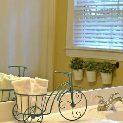 Thrift Store Iron Plant Stand Repurpose as bathroom accessory
