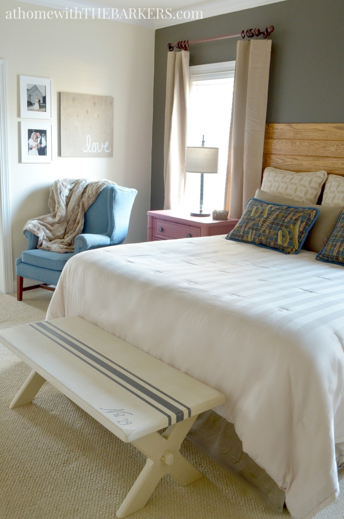 Master bedroom makeover update with rustic decor