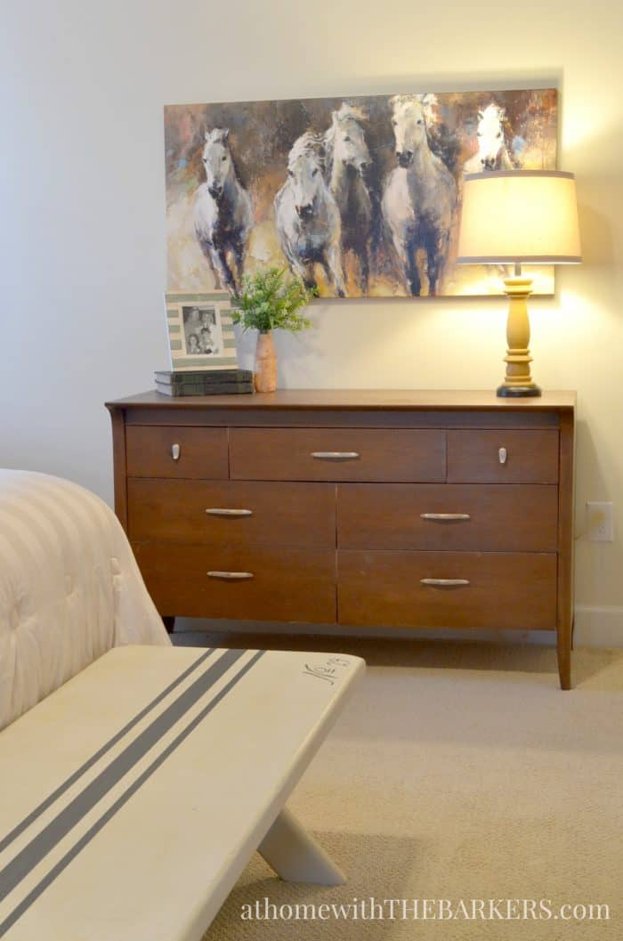 Master bedroom makeover update using a thrift store dresser and rustic style