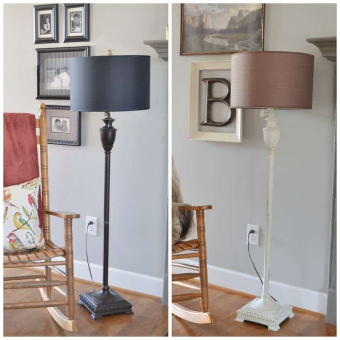 Painting Metal Lamp Makeover Before and After