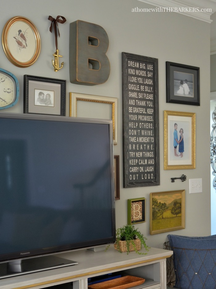 Spring Home Tour TV Gallery Wall