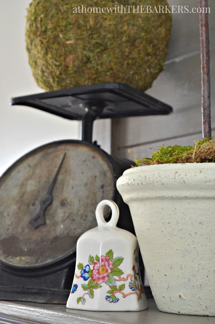 Spring Mantel- Vintage Scale and thrift store bell decor