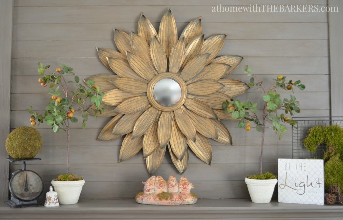 Vintage and Metallic Spring Mantel