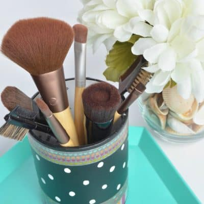 DIY Makeup Brush Holder with washi tape and sharpie