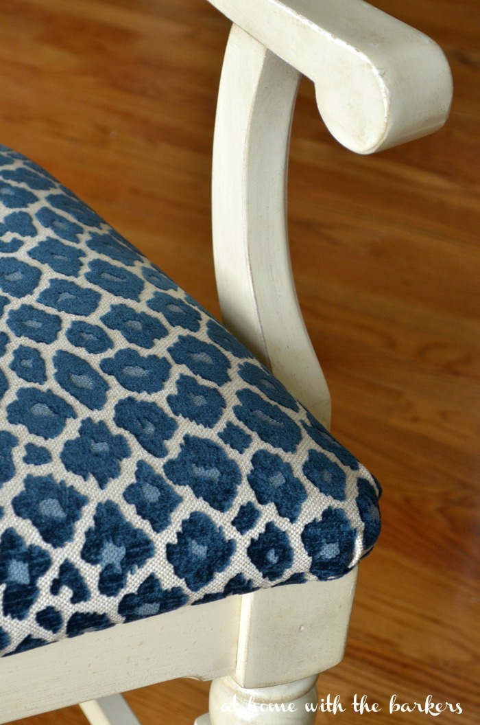 One Room Challenge Chair Makeover with Simba Navy Fabric