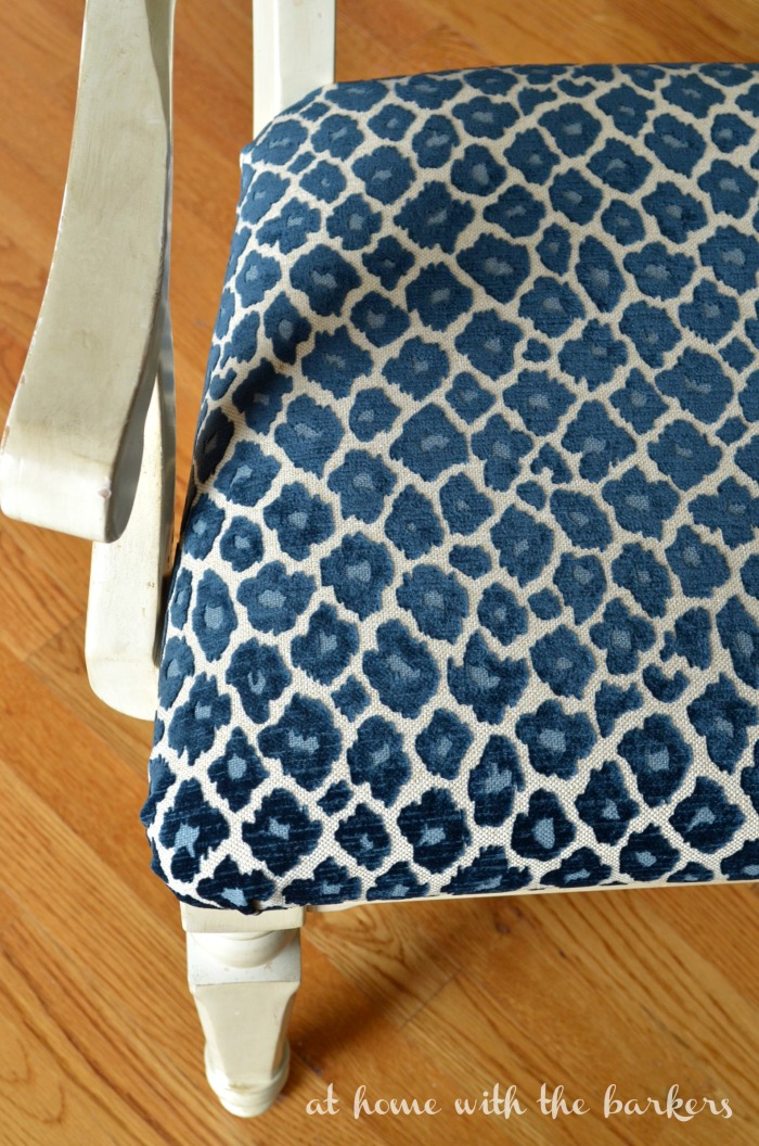 Recover kitchen chair tutorial using Simba Fabric in Navy.