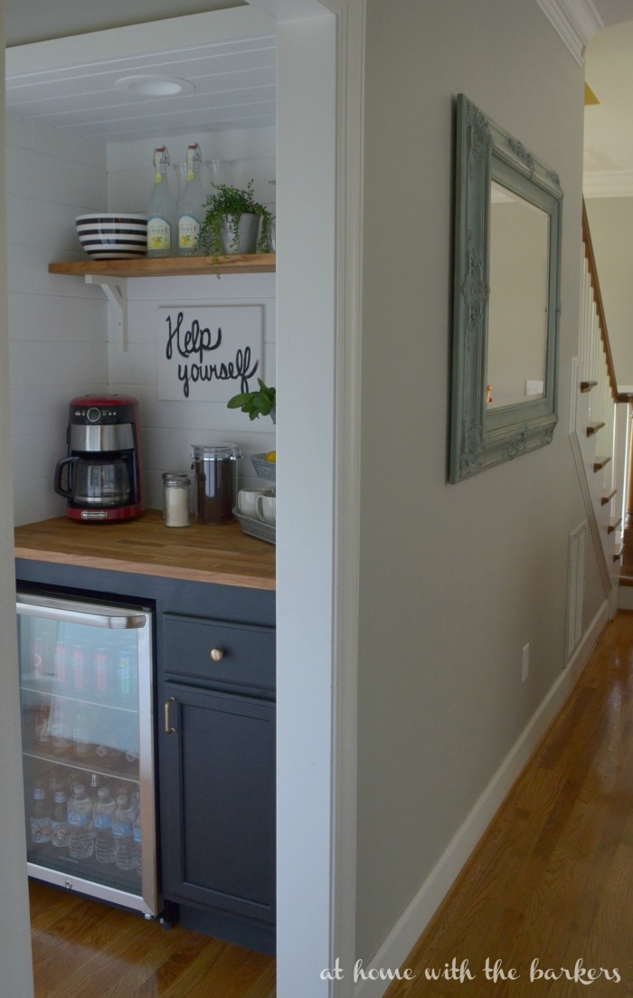 Diy beverage bar at home with the barkers for Built in kitchen bar