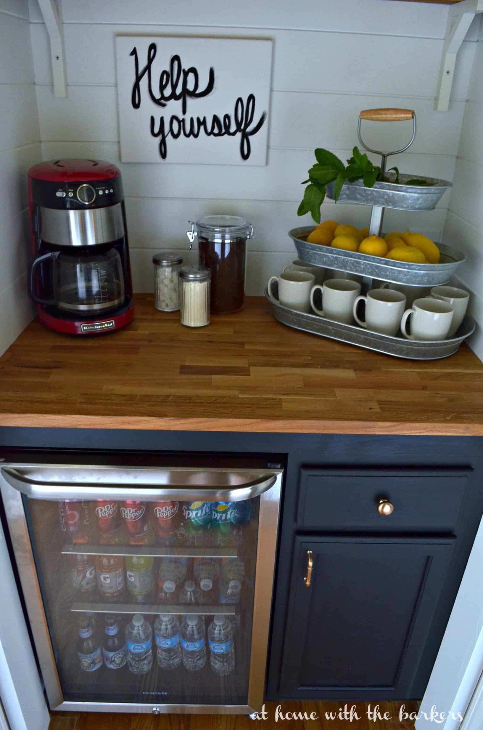 Diy beverage bar at home with the barkers for Built in drinks cabinet