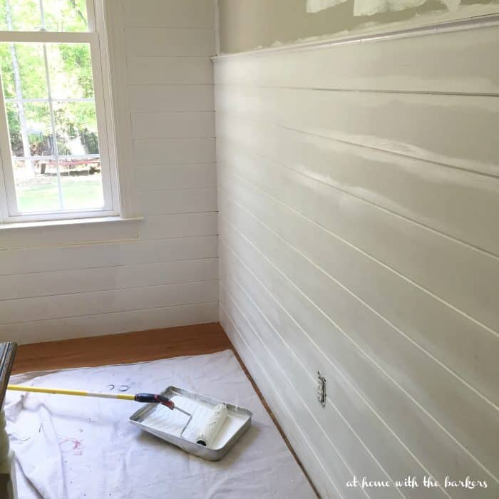 DIY Painting a plank wall