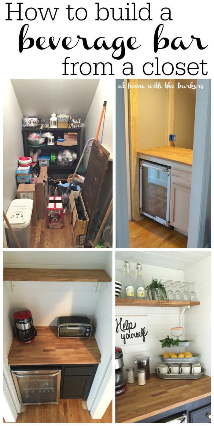 How to build a beverage bar from a closet under the stairs