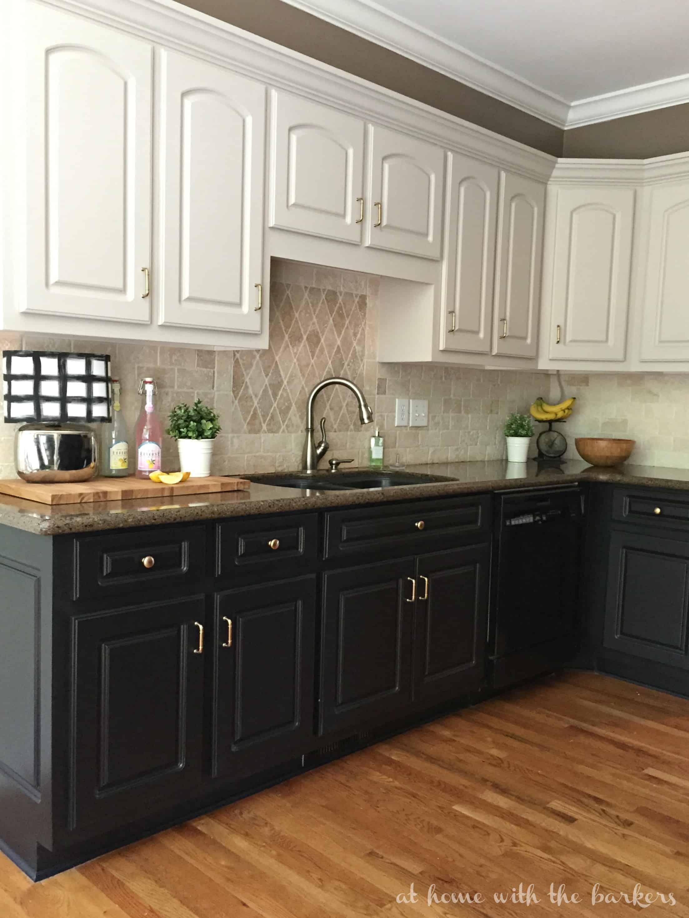 White Upper And Black Lower Kitchen Cabinets