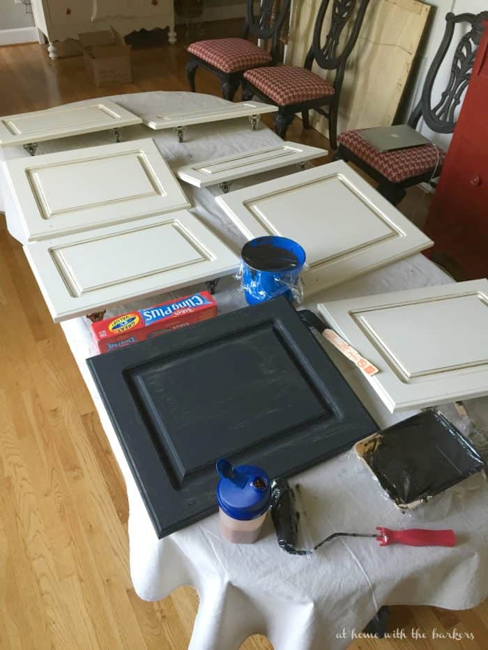 Remove cabinet doors before painting