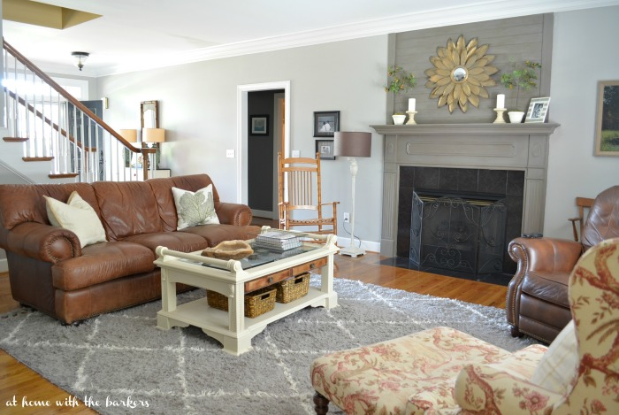 Living Room with painted coffee table
